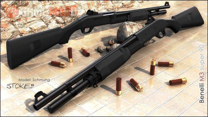 Benelli M3 Super 90 On Hyper3D